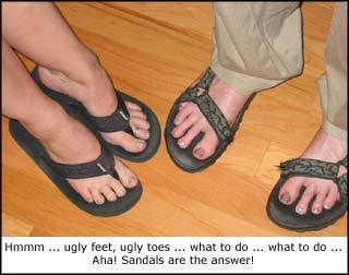 If you believe in Satan then believe that he is responsible for sandals